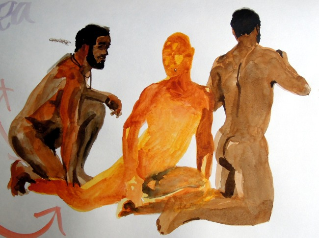 Three watercolor sketches of nude man kneeling or sitting