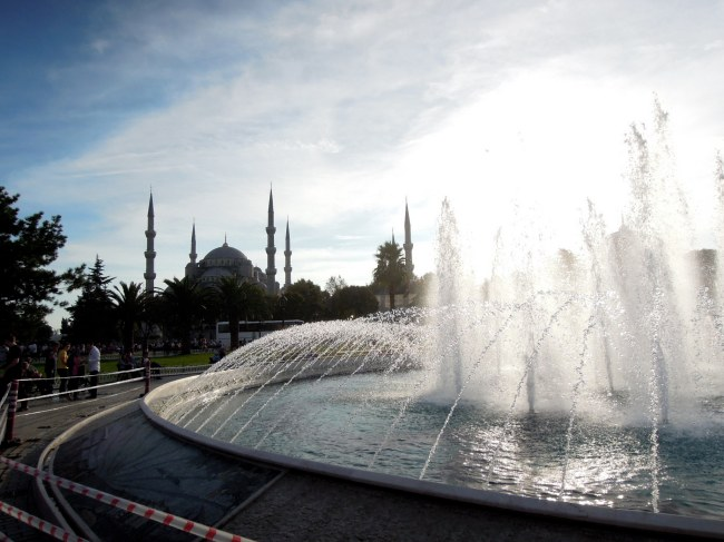 Fountain with Blue Mosque in background