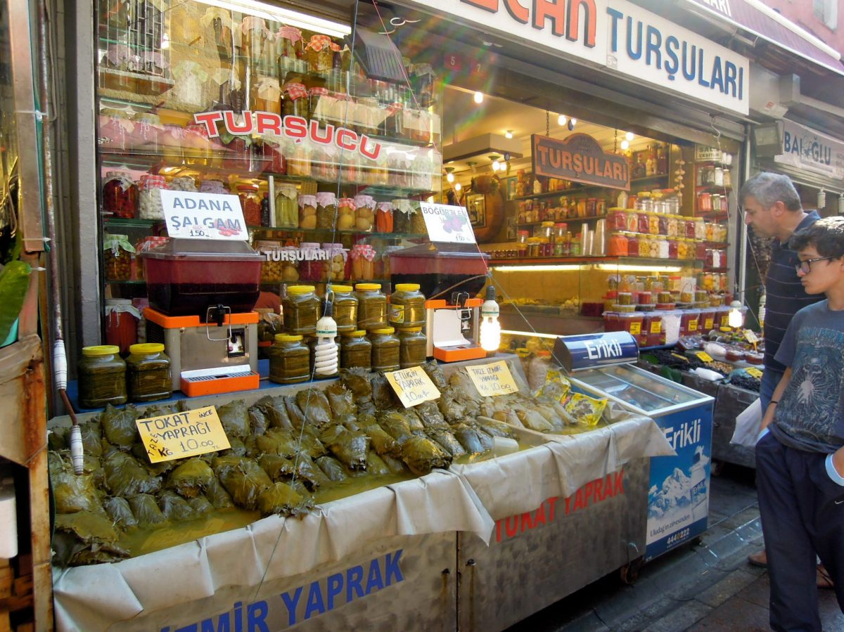 Stand with grape leaves for sale