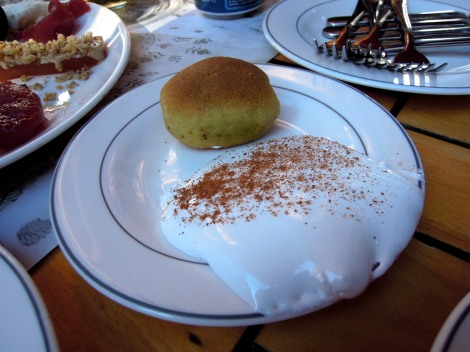 Pistachio dessert (kerebiç) with some sort of boiled frosting-type cream