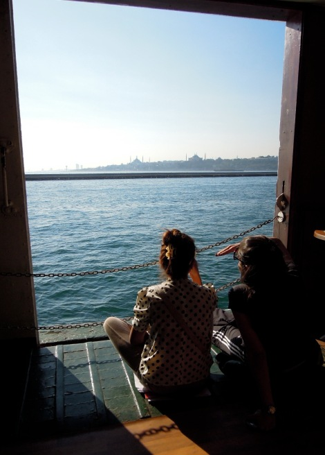 Girls on the ferry looking out at the Bosphorus