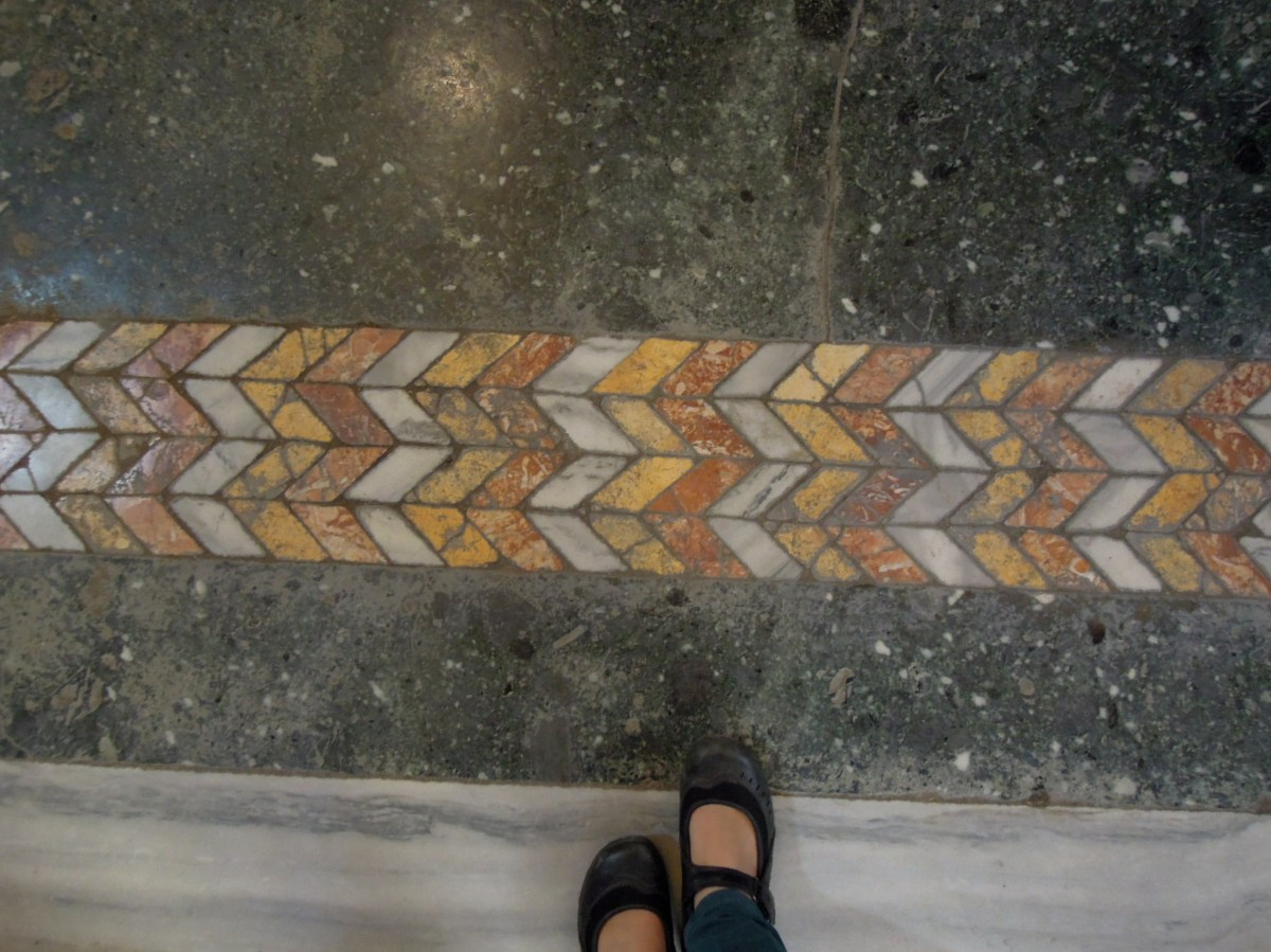 Marble inlay in floor