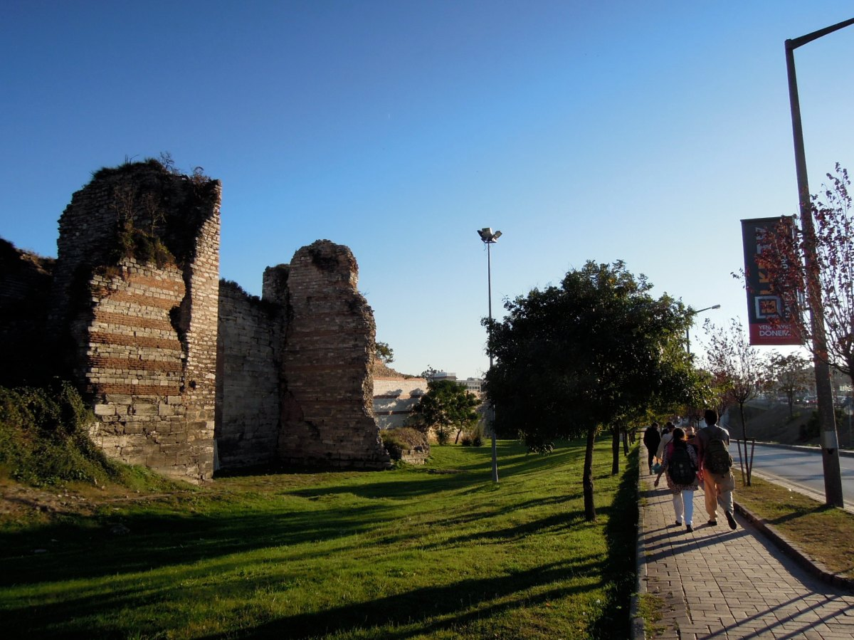 Walking along the old city walls at late afternoon