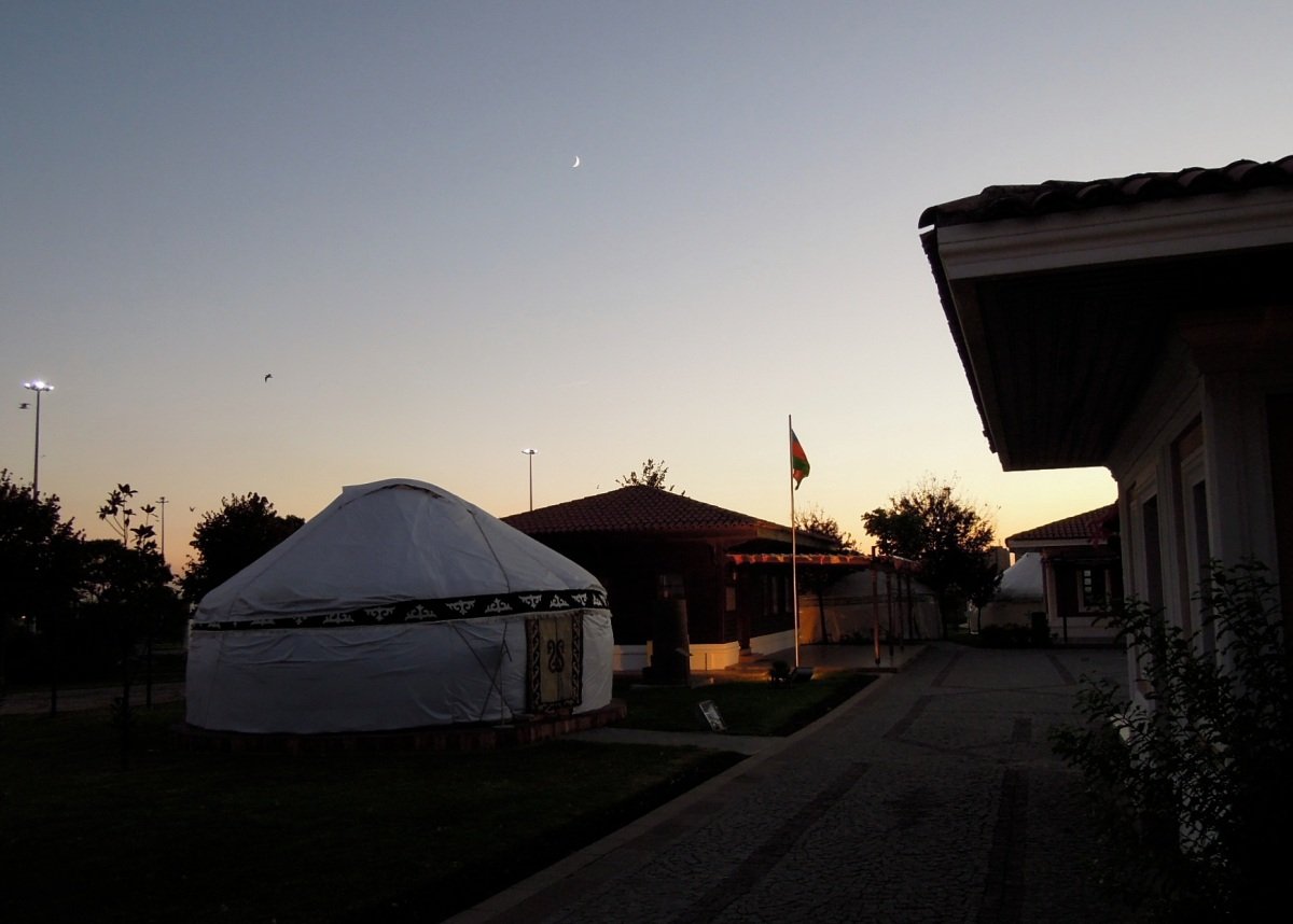 Yurts at the culture park by dusk