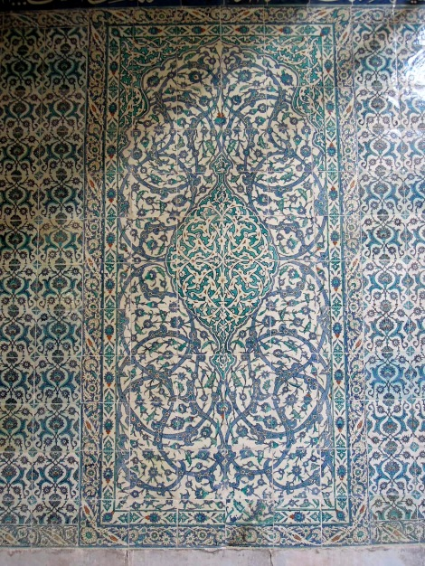 Wall of blue floral tiles
