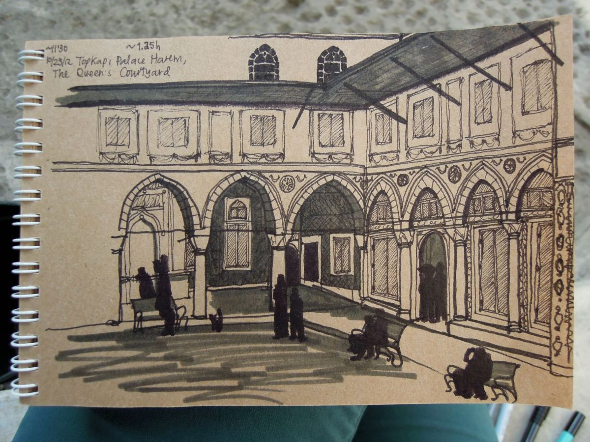 Sketch of the Queen's Courtyard at the harem of Topkapı Palace