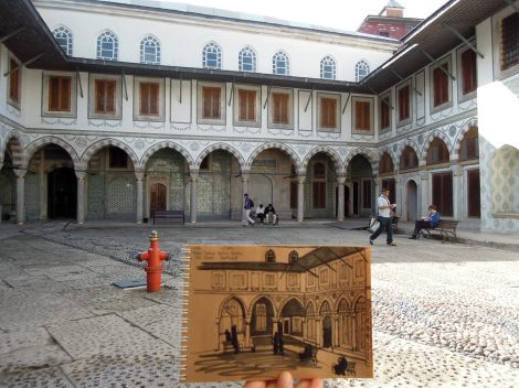 Sketch of the Queen's Courtyard in the harem