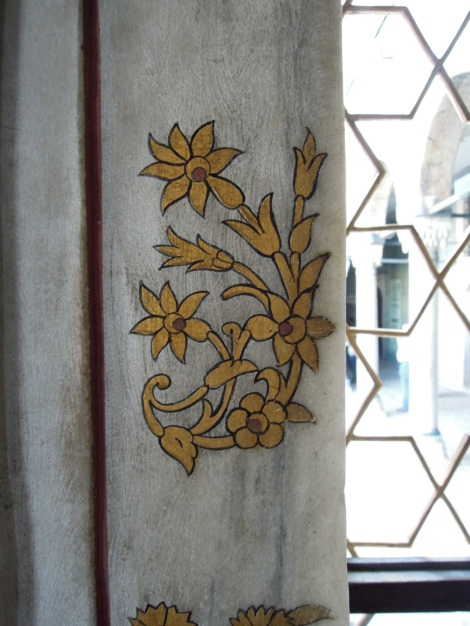 Gold decoration on marble windowsill