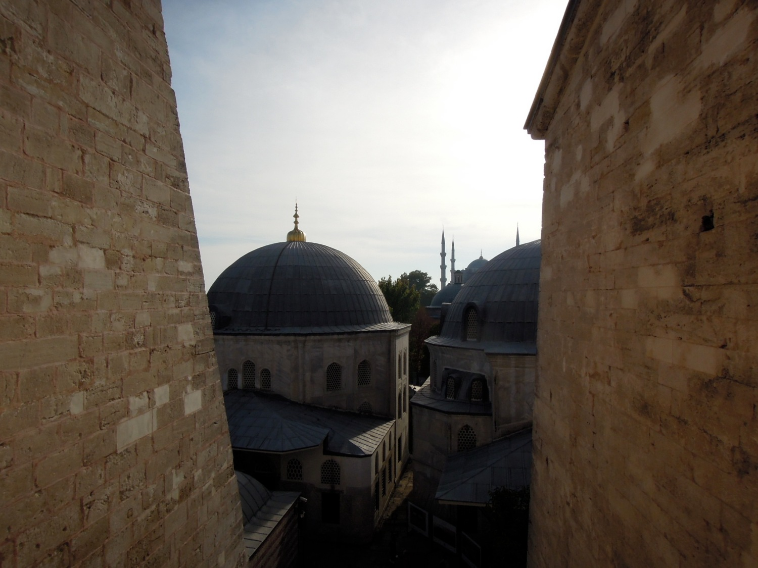 Domes outside a window of the Aya Sofya