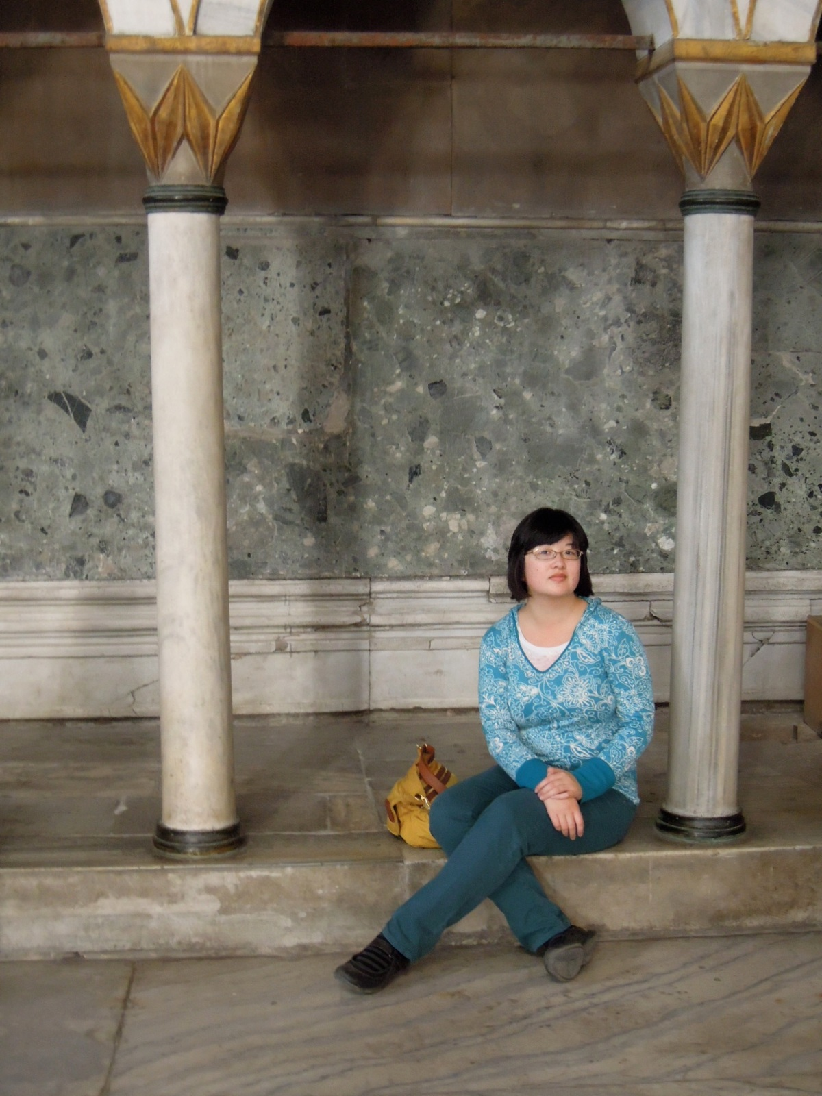 Lisa sitting inside the Aya Sofya