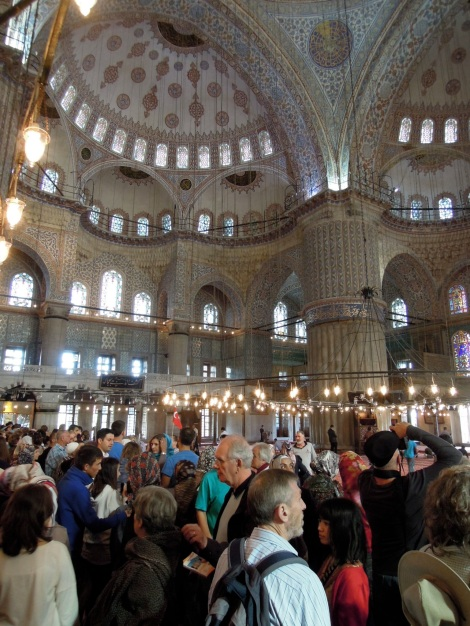 Crush of tourists inside the Blue Mosque