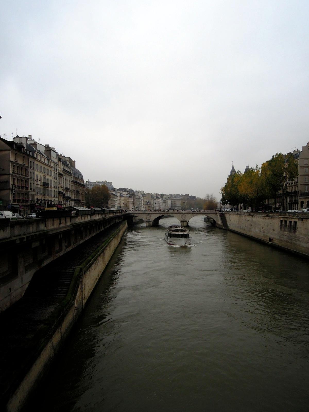 The Seine on an overcast, misty day
