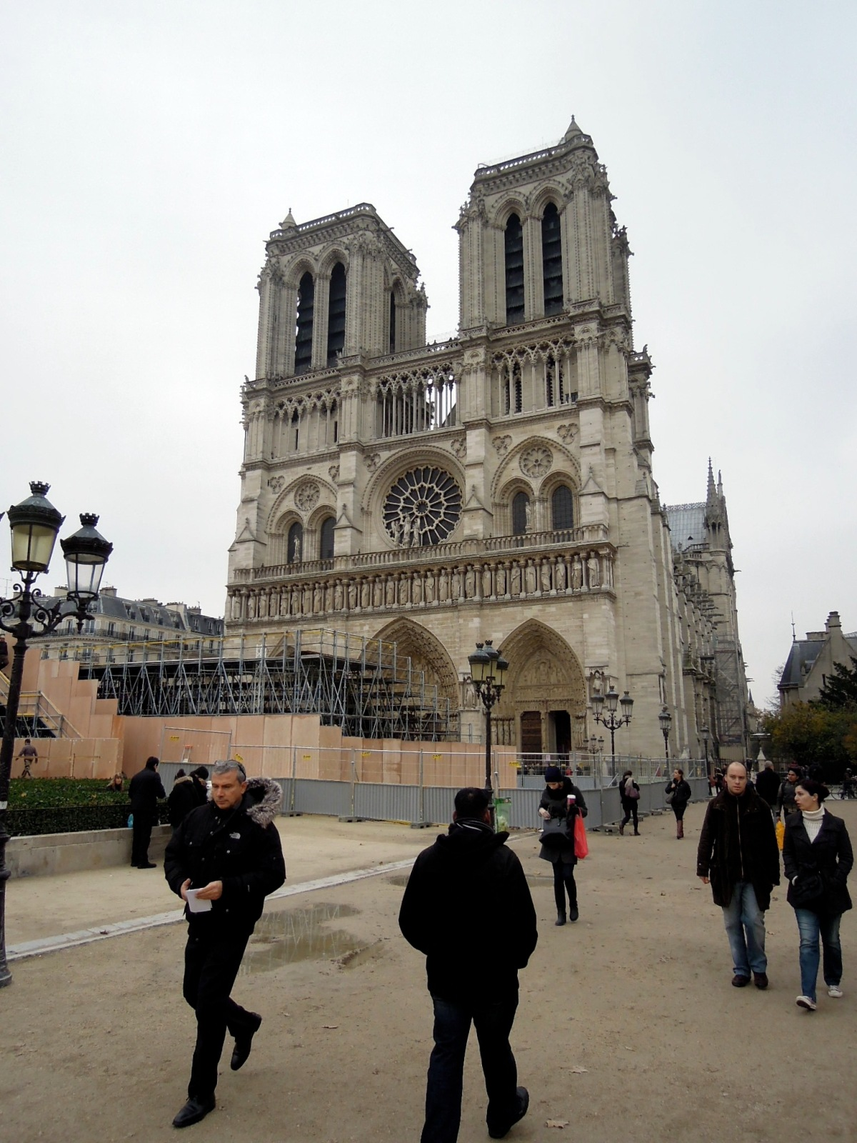 Notre Dame with construction in front