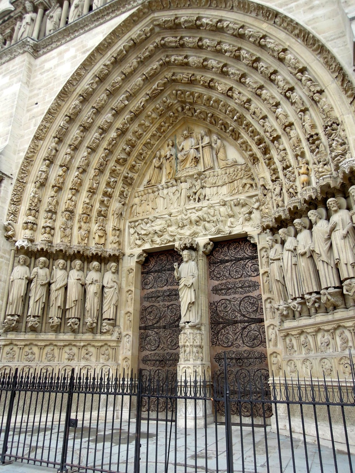 Magnificent carved arches and doorway of Notre Dame