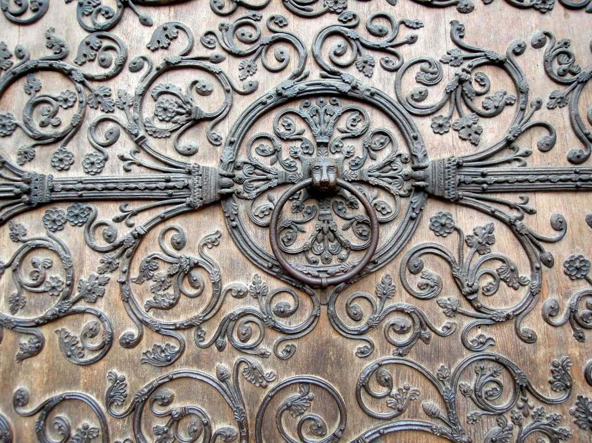Detail of ironwork on outside wooden door