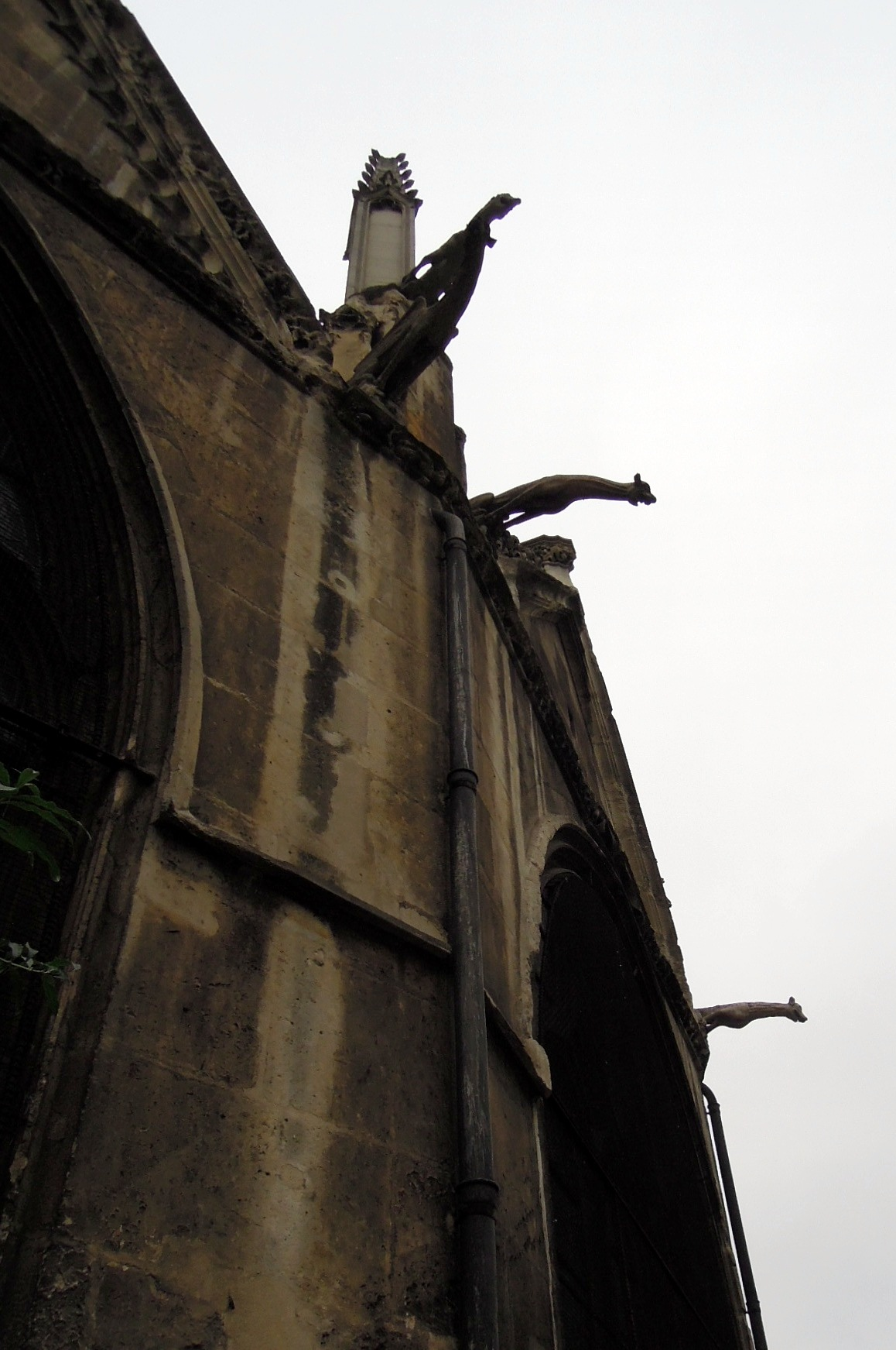 Gargoyles leaning outward from the roof