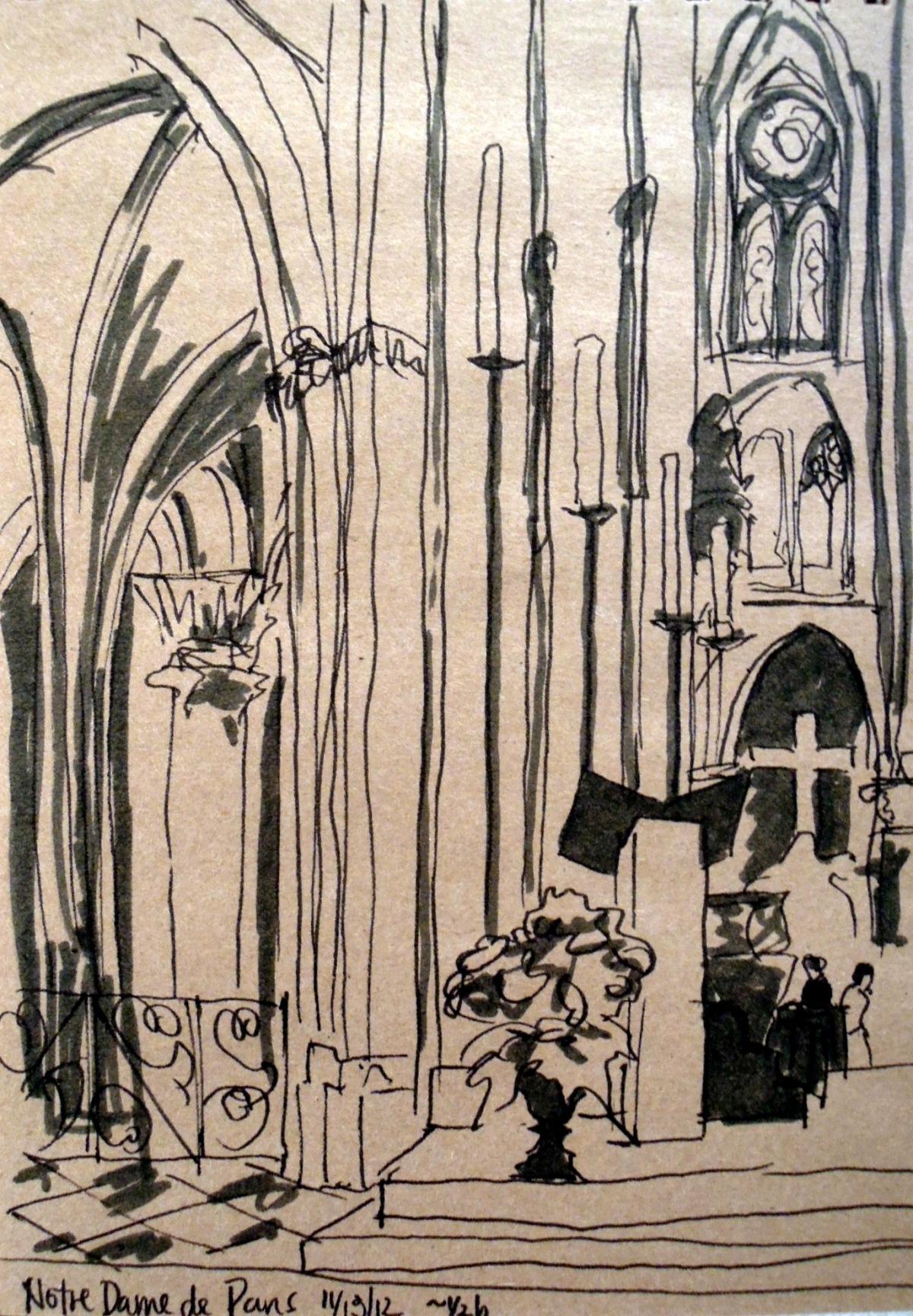 Sketch inside Notre Dame