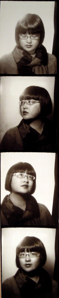 Lisa's new haircut in BW photobooth shots