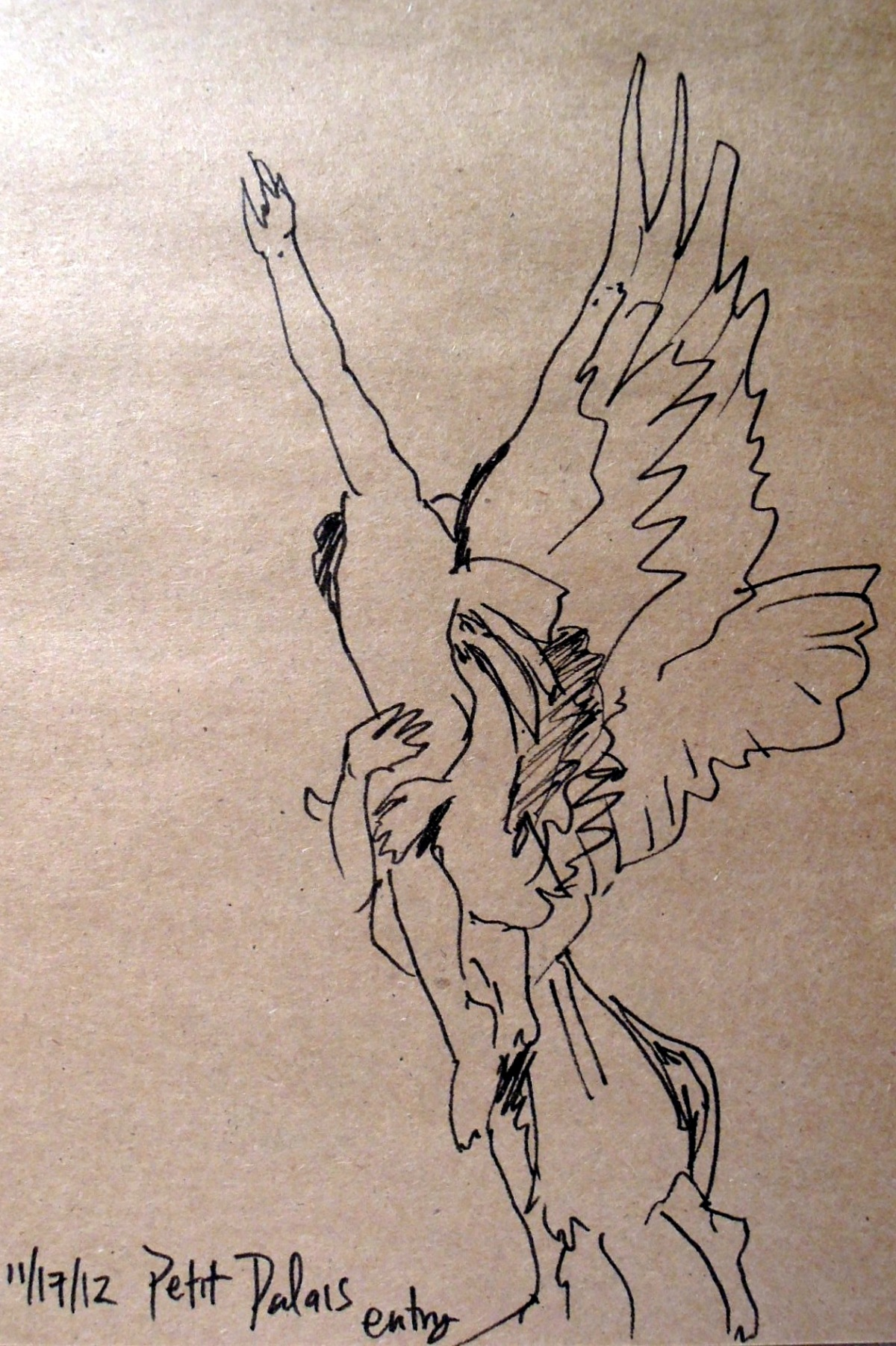 Sketch of angel statue