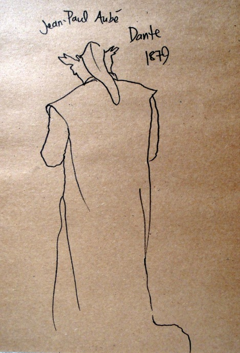 Jean-Paul Aubé's Dante sculpture, sketched from behind