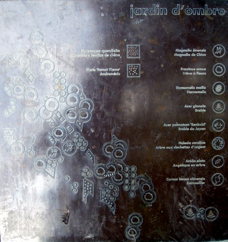 Metal plate showing aerial view of the trees
