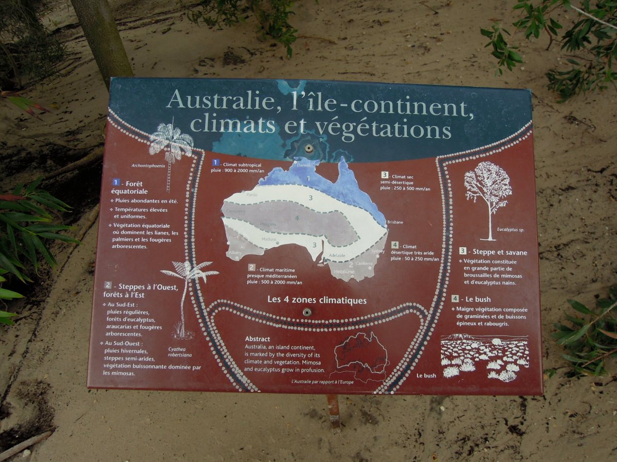 Explanatory sign for Australian trees