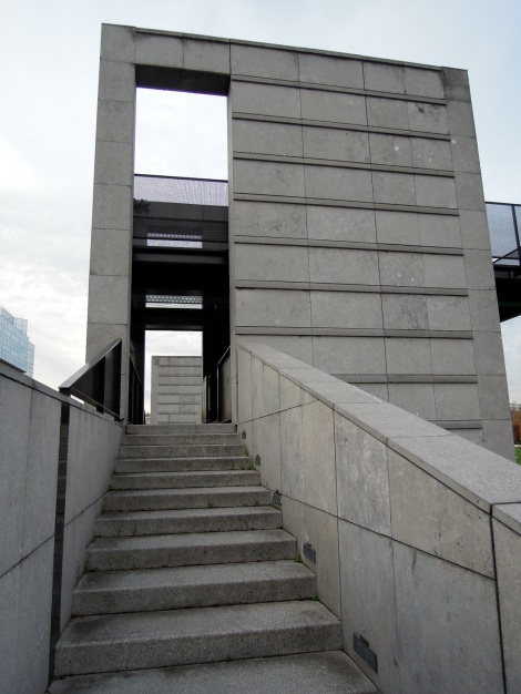 Concrete block with stairs going into it