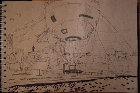 Livelier sketch of the hot-air balloon