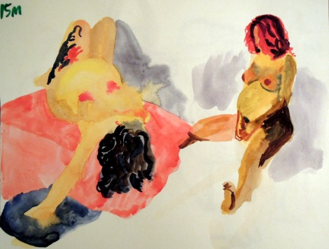 Watercolor sketches of a pregnant woman