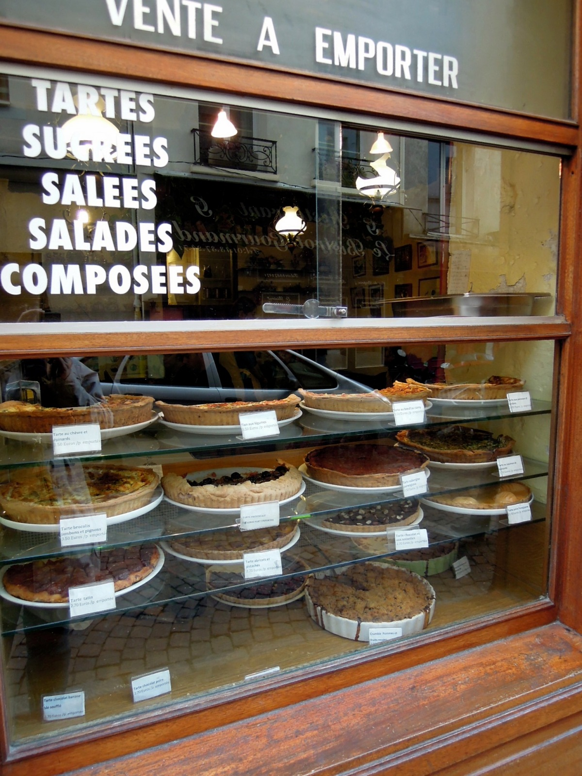 Sweet and savory tarts in the window of La Maison des Tartes