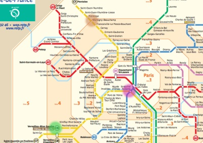 Paris metro map, with our starting point and destinations marked