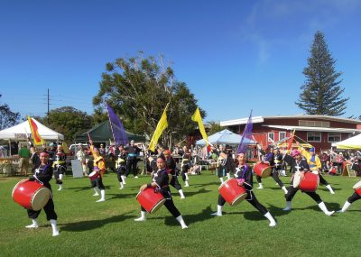 Okinawan taiko group at the Waimea Farmers' Market