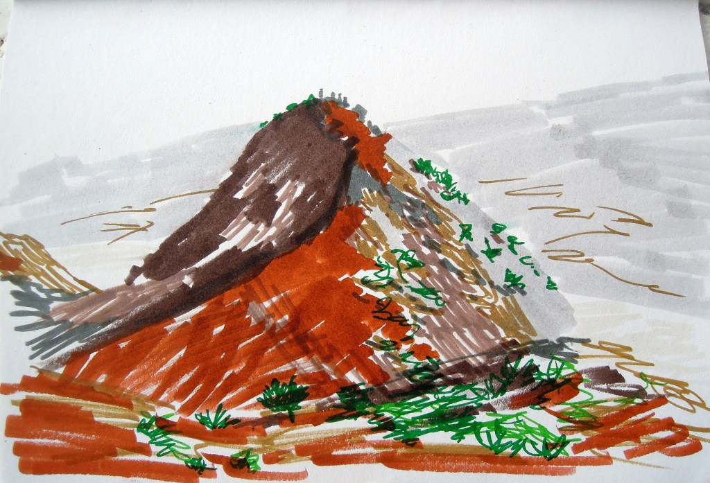 Marker drawing of cinder cone on the side of Mauna Kea