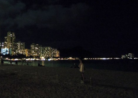 Waikiki Beach by night