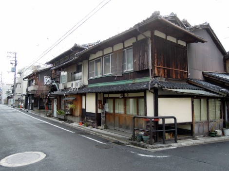 Street corner in Murasakino, Kyoto, with traditional buildings