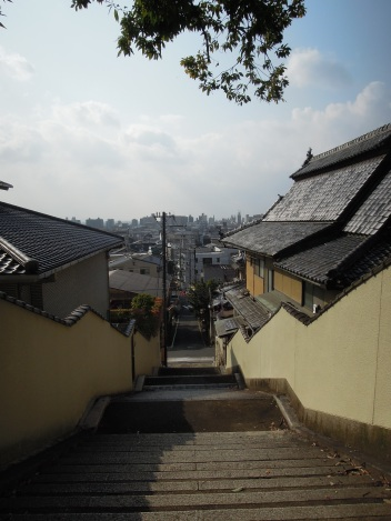 View from steps at the end of our street, looking toward our house and the rest of Kyoto