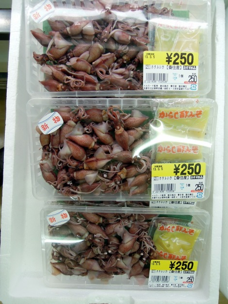 Little squids for sale at a Kyoto supermarket