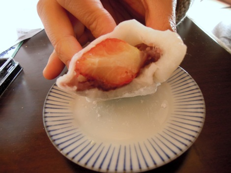 Daifuku with red bean paste and whole strawberry inside