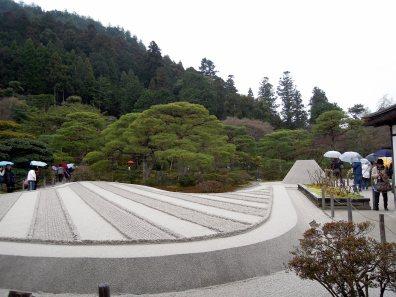 Sand garden at Ginkaku-ji, with cone in background.