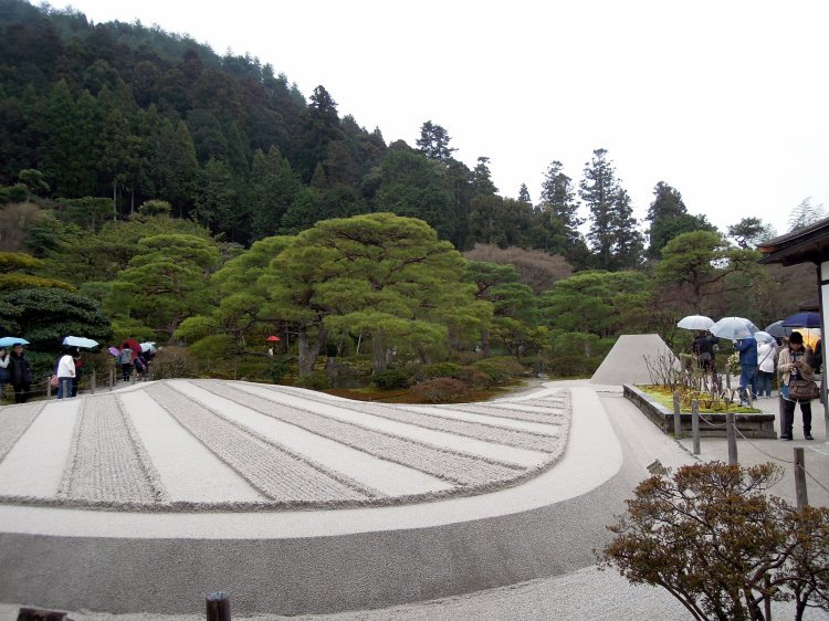 Sand garden at Ginkaku-ji, with cone in background.
