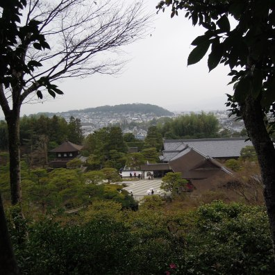 View from the hill path behind the temple buildings.