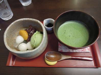 Matcha and sweets in a cafe near Ginkaku-ji.