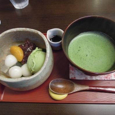 Matcha and sweets in a cafe near Ginkaku-ji.
