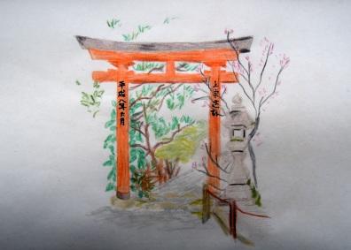 Watercolor pencil & waterbrush sketch.