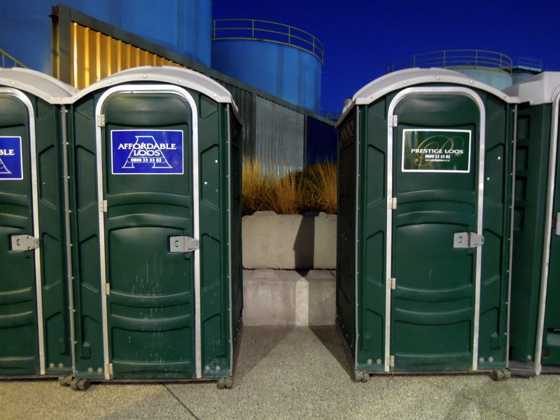 Two brands of porta-potties: Affordable Loos and Prestige Loos.