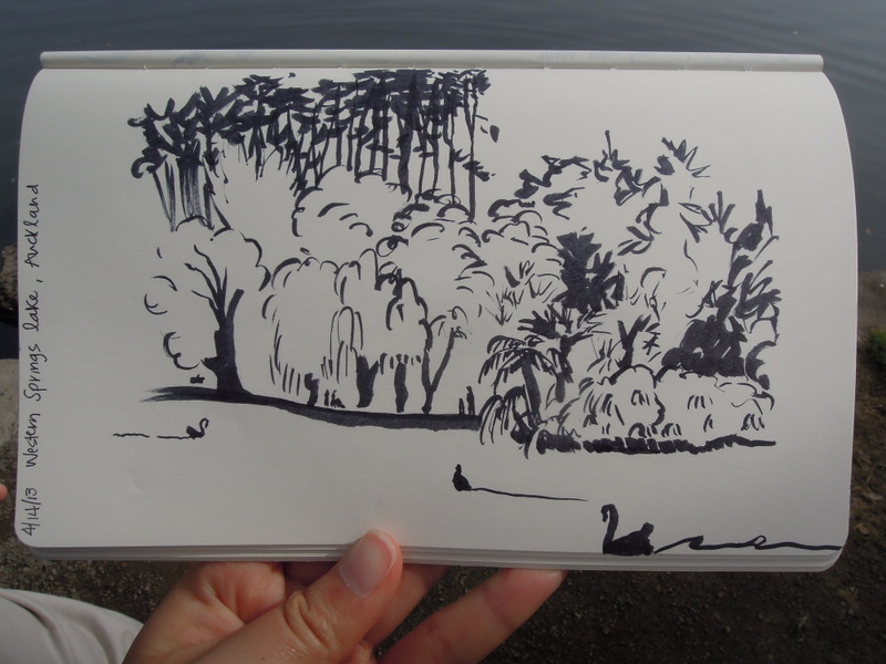 Sketch of the lake and trees with some waterfowl