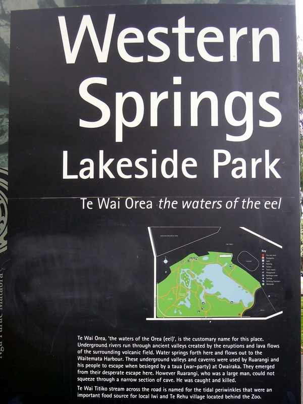 "Sign explaining the lake is called ""the waters of the eel"" (Te Wai Orea) in Maori."