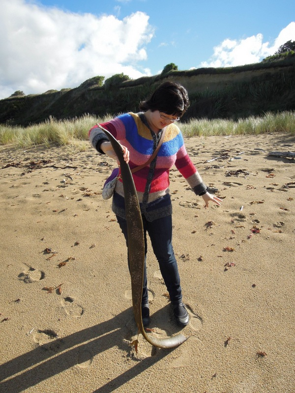 Lisa playing with a big piece of kelp (?)
