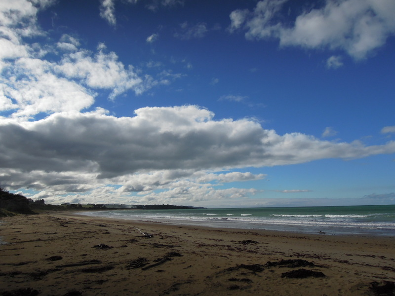 Gorgeous clouds over a beach, South Island, New Zealand