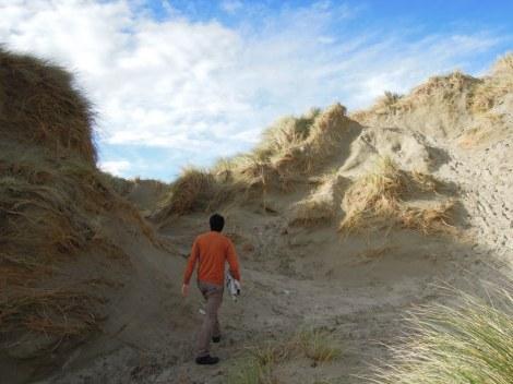 Erik walking in dunes, Oreti Beach, New Zealand